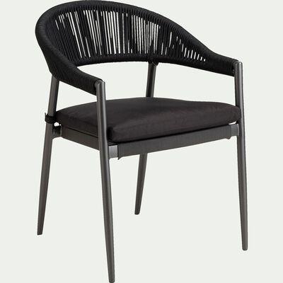 Chaise de jardin en acier avec accoudoirs - noir-ROCIO