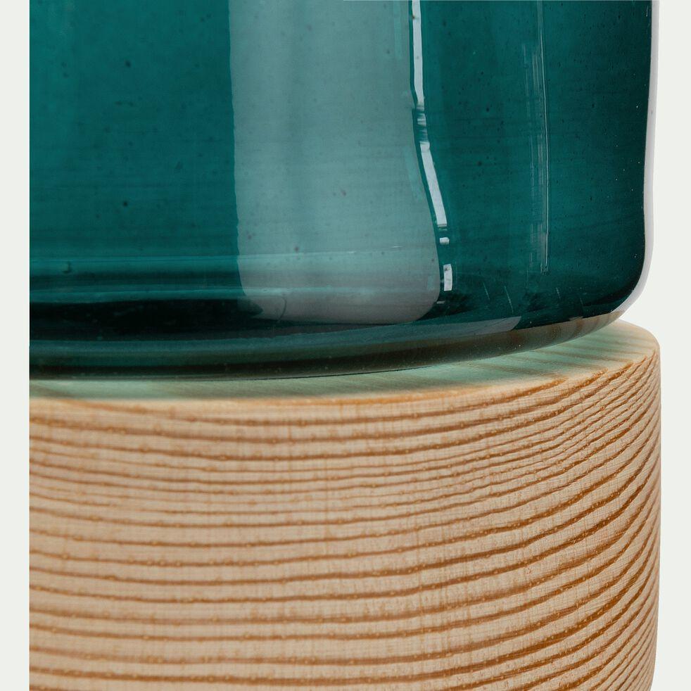 Photophore en verre sur socle en bois - bleu H8,5cm-Skyro
