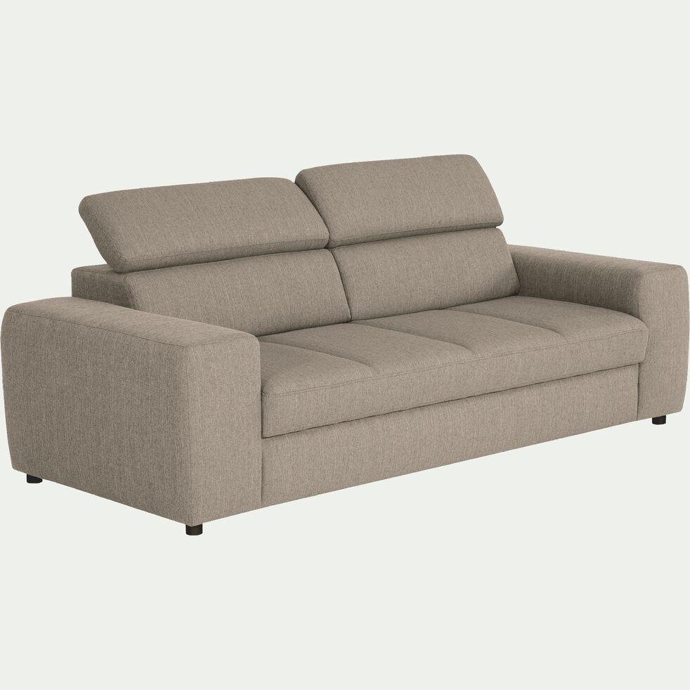 Canapé 3 places fixe en tissu - grège-TONIN