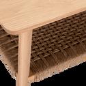 Table basse rectangulaire plaquée chêne et corde tressée-CORDA
