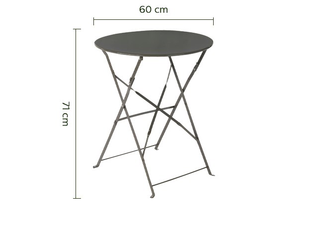 Table de jardin pliante taupe D60cm (2 places)-CERVIONE