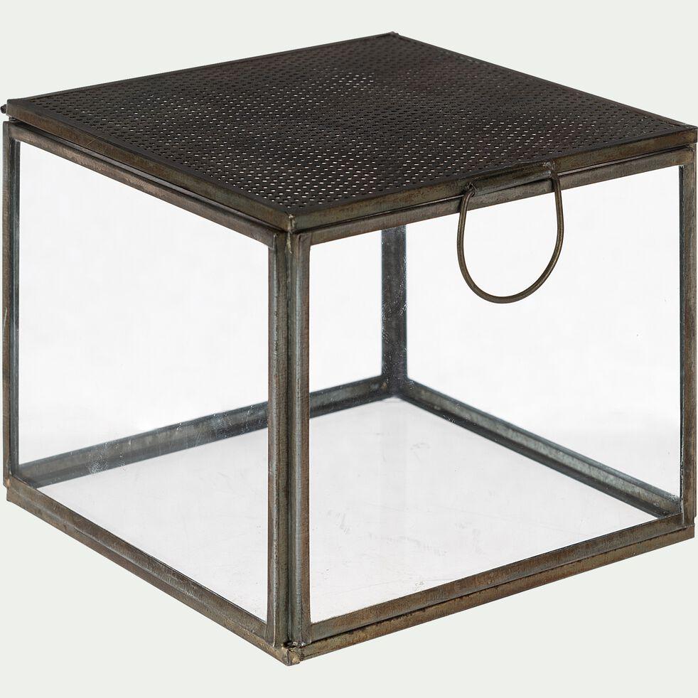 Boite déco en verre - 12x12x9,5cm transparent-KULDHARA