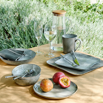 Assiette creuse en grès gris effet texturé D21cm-LARGO
