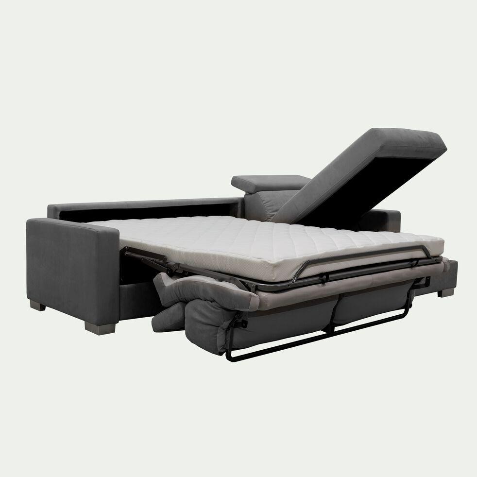 Canapé 4 places convertible en tissu microfibre avec angle réversible et accoudoir 15cm - gris-MAURO