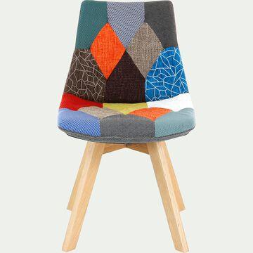 Chaise patchwork avec piétement en bois-JOY