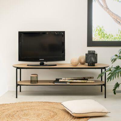 Meuble TV plaqué frêne et métal noir L160cm-OUNOUR