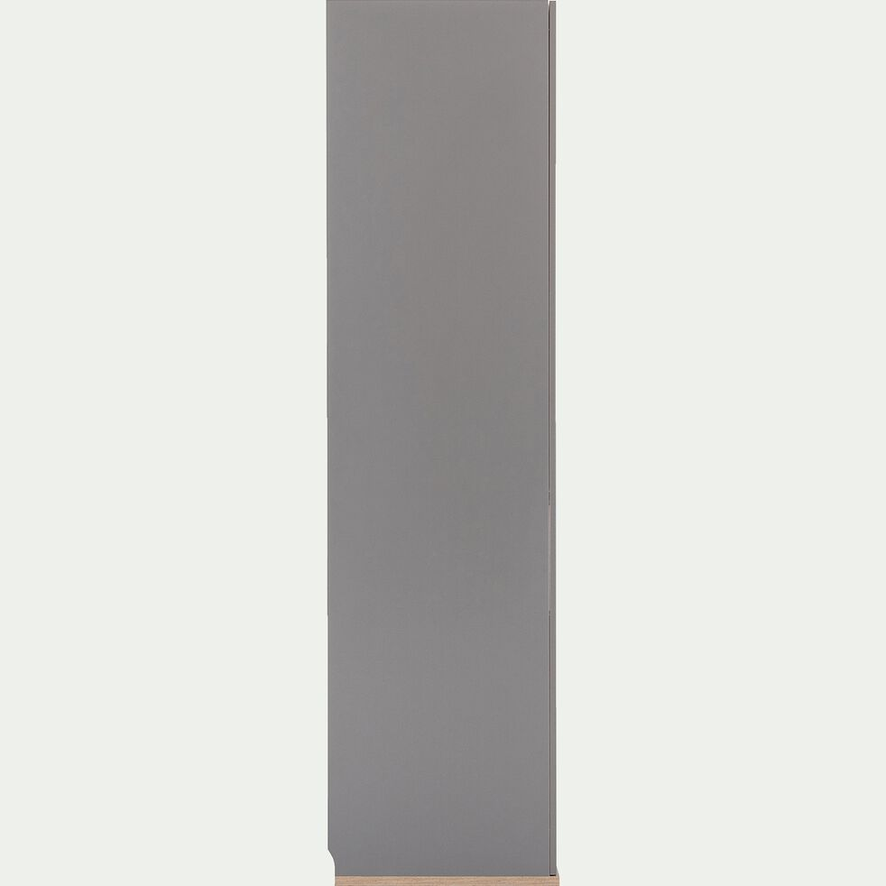 Armoire de dressing 2 portes battantes effet chêne - gris-NESTOR