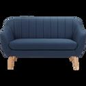 Canapé 2 places fixe en tissu bleu foncé-SHELL