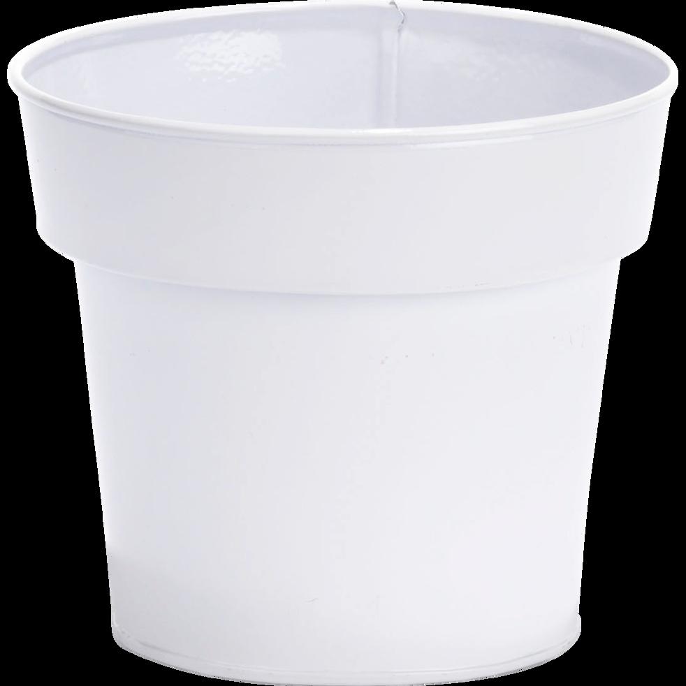 Cache-pot blanc en métal H11xD13cm-FLORA