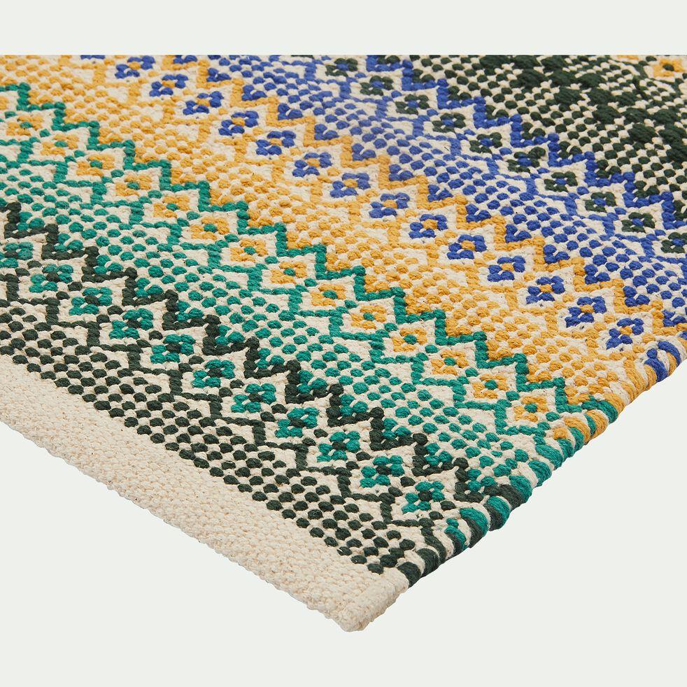Tapis tissé en coton multicolore - jaune, bleu et vert 60x90cm-SIM