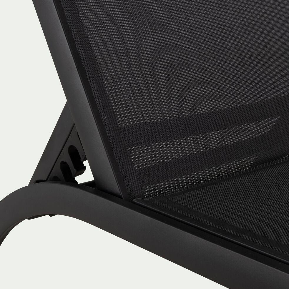 Bain de soleil en aluminium et textilène - noir-MEGUI