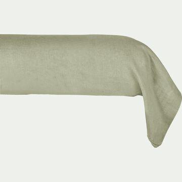 Taie de traversin en lin - vert olivier 45x190cm-VENCE