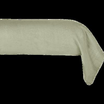 Taie de traversin en lin Vert olivier 45x190cm-VENCE