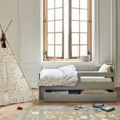 Housse de couette enfant motifs cabanes 120x140cm et 1 taie 35x45cm - blanc-Cabane
