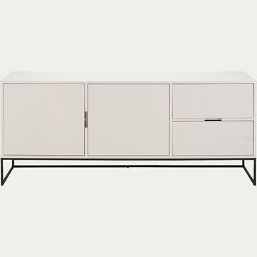 Buffet bas 2 portes et 2 tiroirs en bois et acier - blanc mat-CARRY