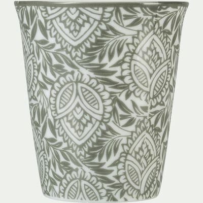 Lot de 6 tasses en porcelaine motif amande vert cèdre 9cl-CAMILLE
