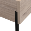 Lit 2 places finition chêne et métal 140x200cm-CASTEL