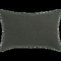 Coussin en lin lavé vert cèdre 40x60cm-VENCE