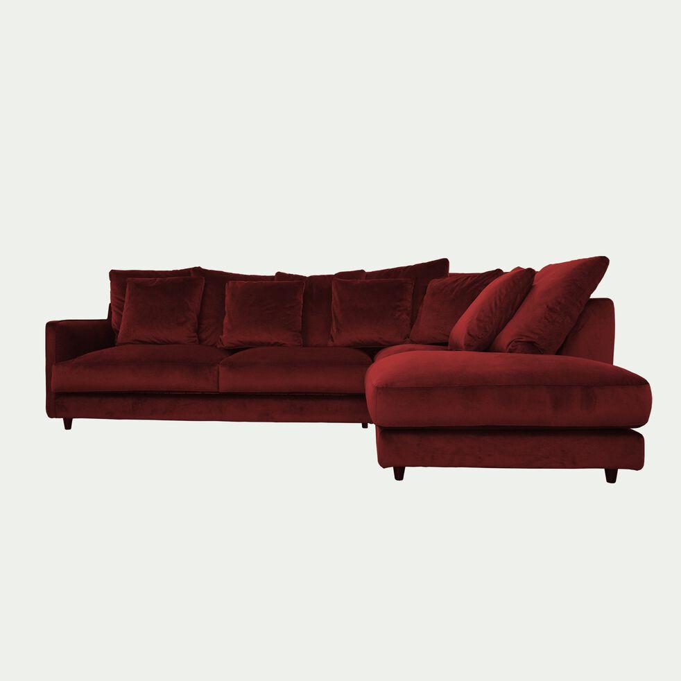 Canapé d'angle droit convertible en velours - rouge sumac-LENITA
