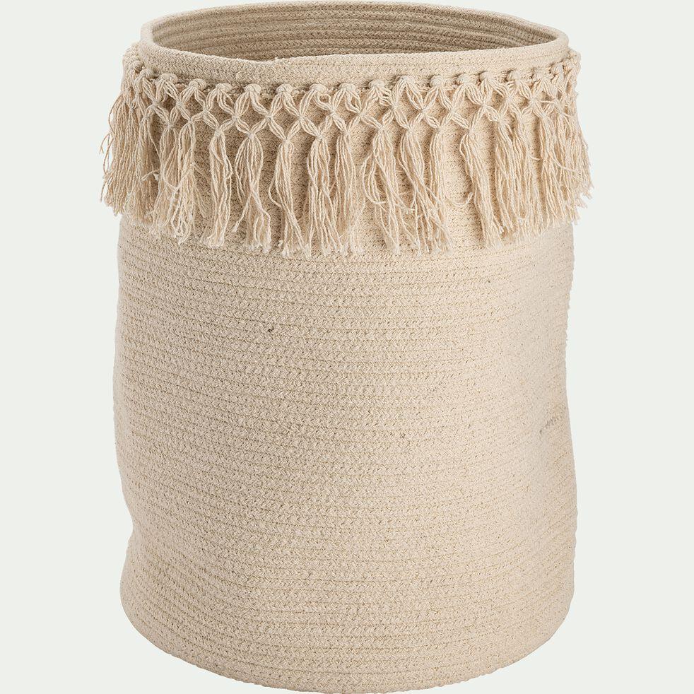 Panier de rangement frangé en coton - naturel D30xH45cm-Lisa