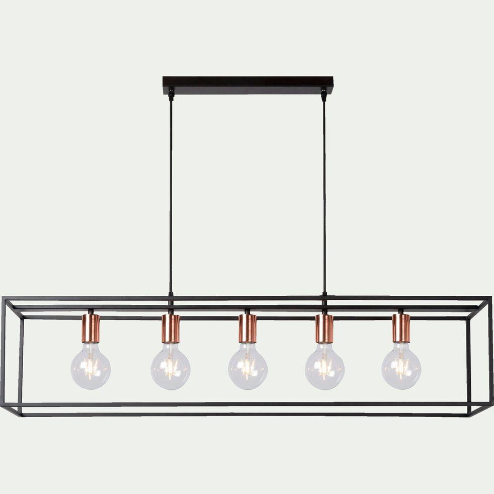 Suspension géométrique à 5 lumières en métal noir L110cm-ARTHUR
