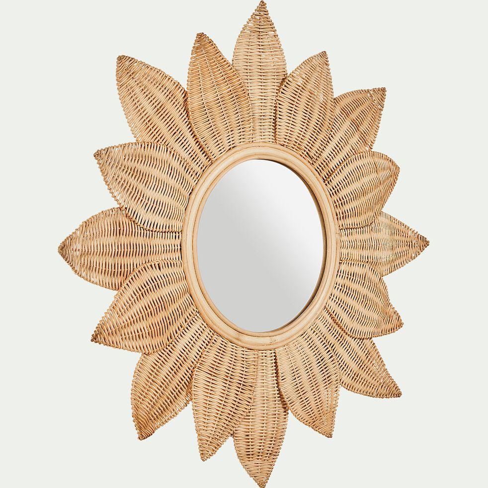 Miroir fleur en rotin - naturel d80cm-Flouro