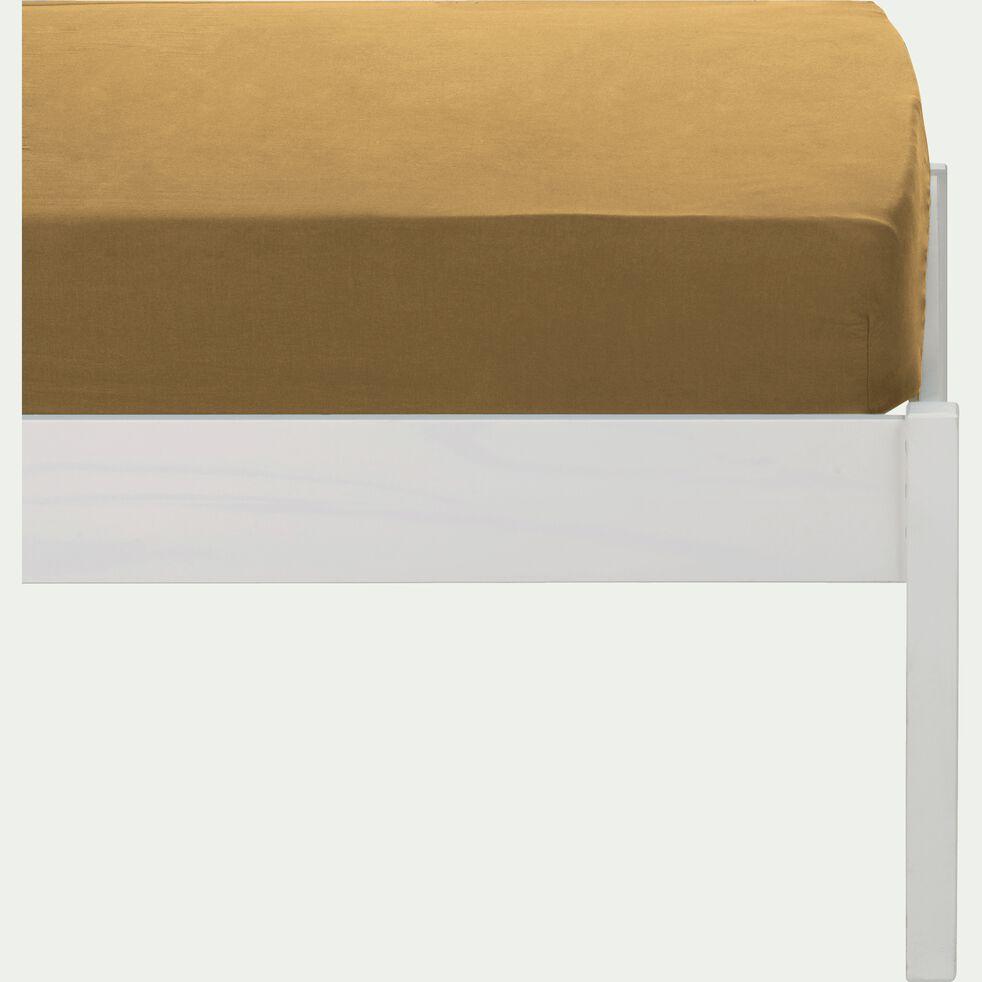 Drap housse en coton lavé beige nèfle 90x170 cm-CALANQUES