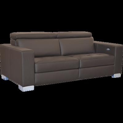 Canapé 3 places relax électrique en cuir de buffle marron-MAURO