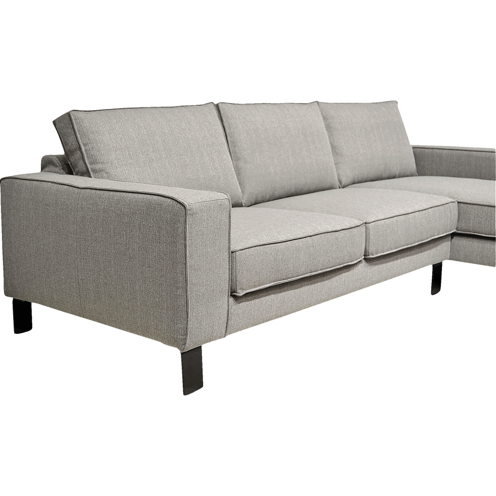 Canapé d'angle fixe droit en tissu gris restanque-CALIFORNIA