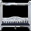 Lit banquette 1 place en métal Blanc avec baldaquin - 90x200 cm-CELESTE