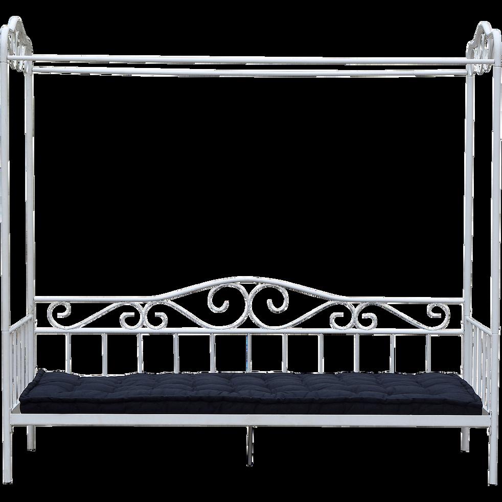 lit banquette 1 place en m tal blanc avec baldaquin 90x200 cm celeste lits banquette alinea. Black Bedroom Furniture Sets. Home Design Ideas
