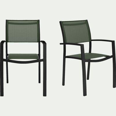Chaise de jardin en textilène empilable avec accoudoirs vert cèdre-ELSA