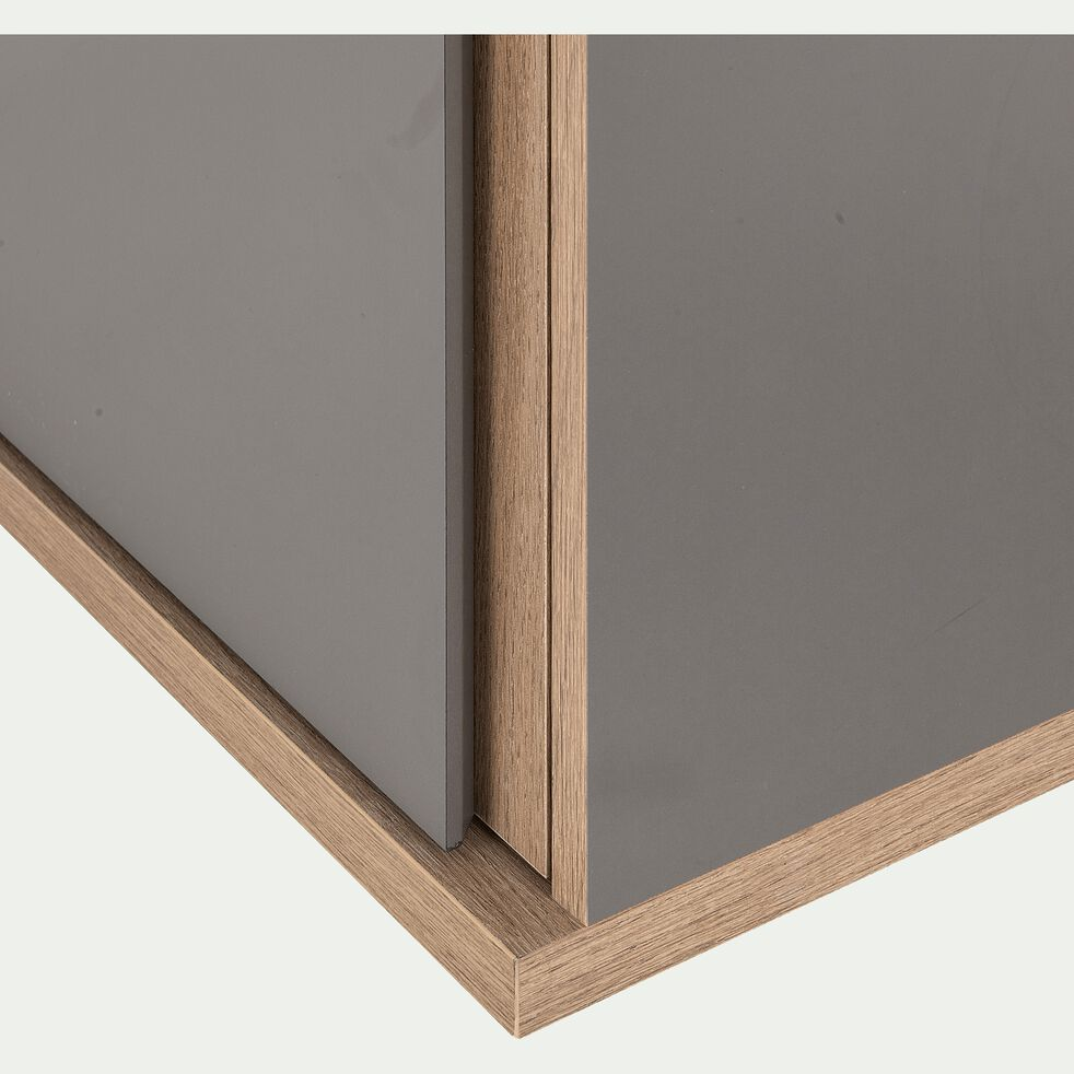 Module armoire avec 1 porte miroir et 1 tiroir effet chêne - gris-NESTOR