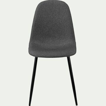 Chaise en acier et tissu avec piètement noir -  gris ardoise-LOANA