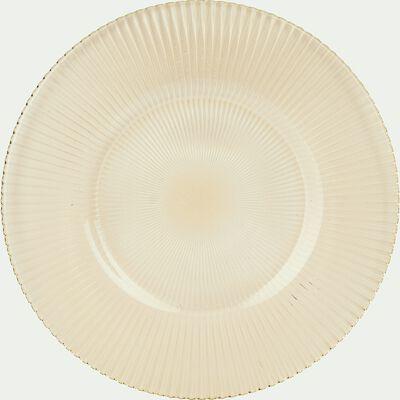 Assiette à dessert en verre strié doré D22.5cm-SUPERBE