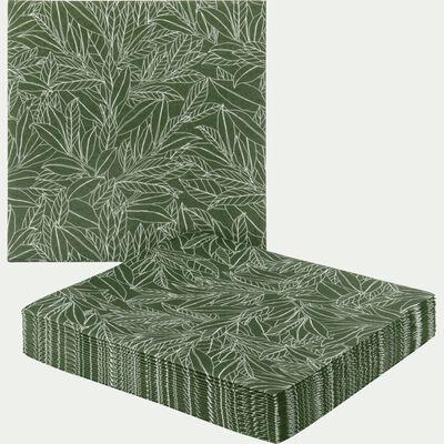 Lot de 20 serviettes en papier vert motif laurier 40x40cm-LAURIER