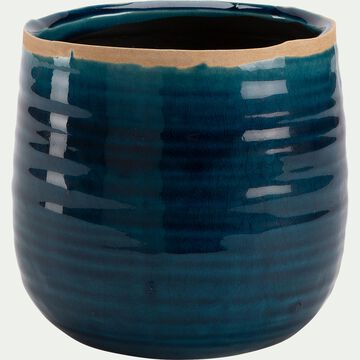 Pot craquelé en céramique - bleu D15xH14cm-PABEKH