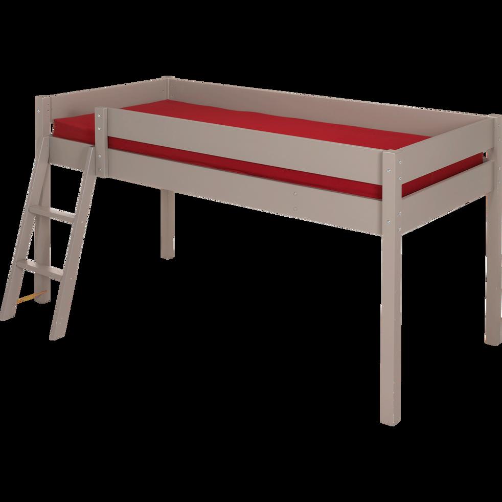 lit mi haut 1 place gris avec sommier 90x200 cm snow lits mezzanine alinea. Black Bedroom Furniture Sets. Home Design Ideas