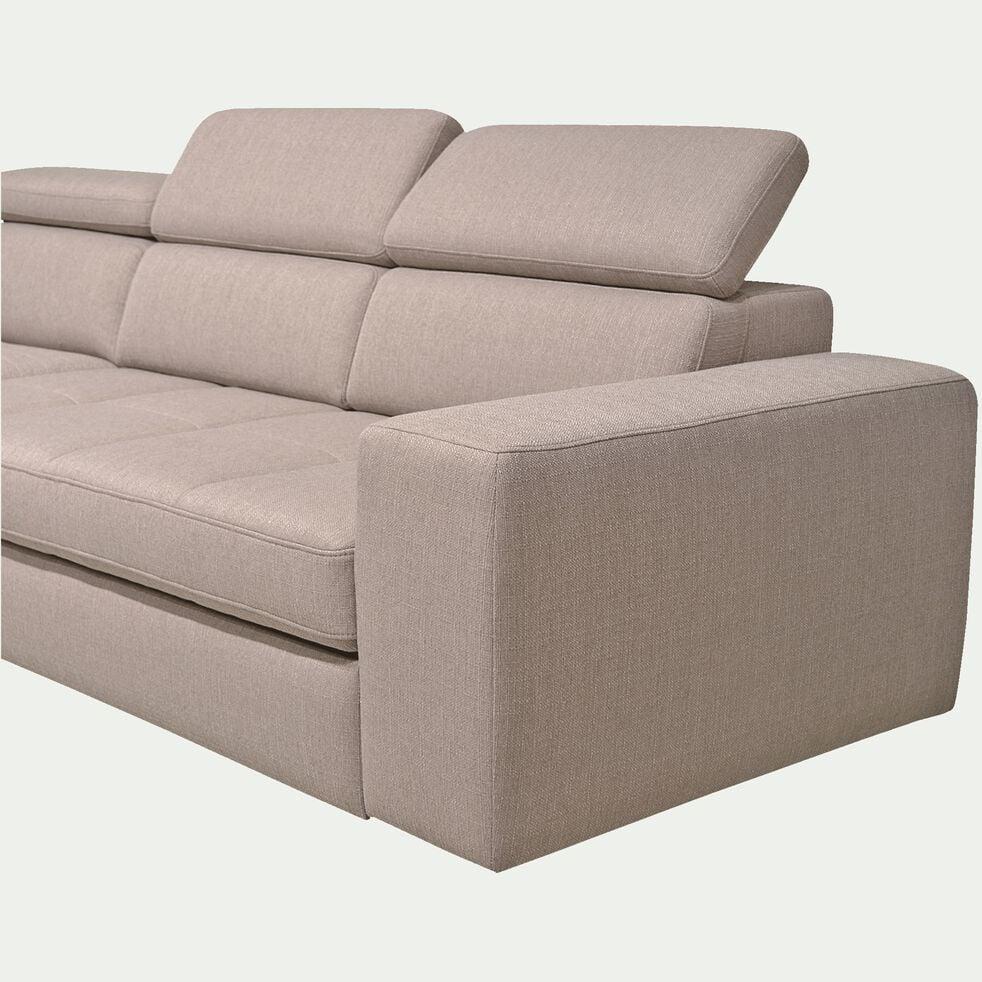 Canapé d'angle gauche panoramique convertible en tissu - grège-TONIN