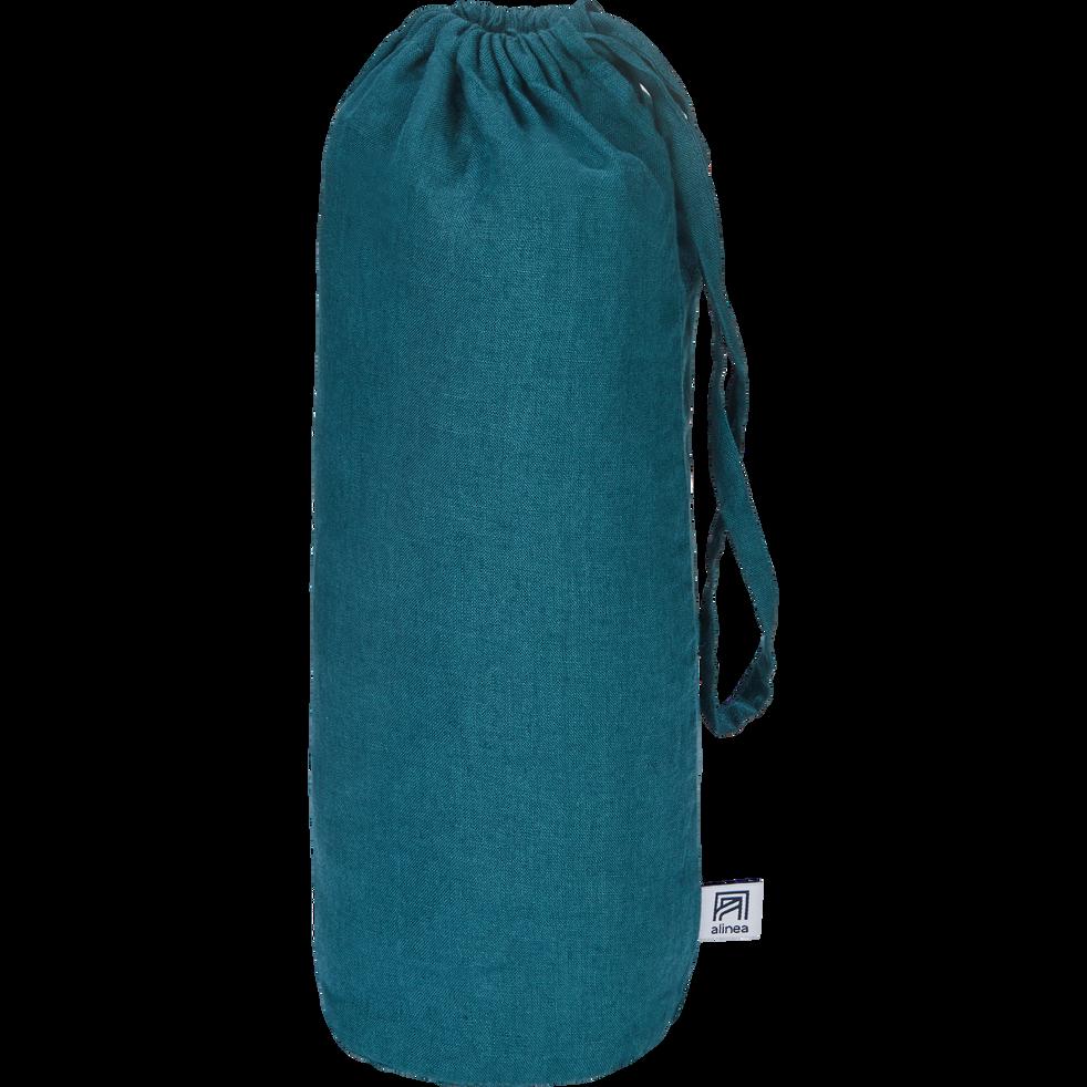 Drap housse en lin Bleu figuerolles 180x200cm bonnet 28cm-VENCE
