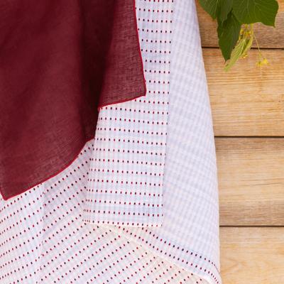 Nappe en coton à motifs rouge arbouse 170x250cm-LEA