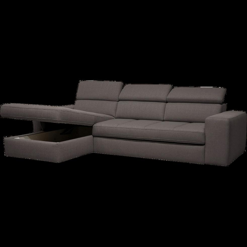 Canapé d'angle gauche convertible en tissu anthracite-TONIN