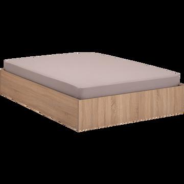 Lit-coffre 160X200cm effet chêne blanchi-BALME