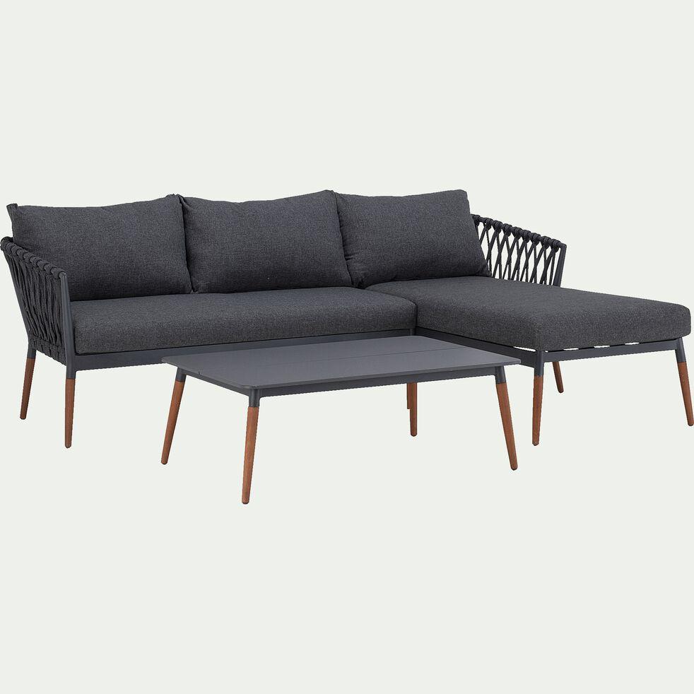 Table basse de jardin en Duranite® et bois - noir-ASTAKOS