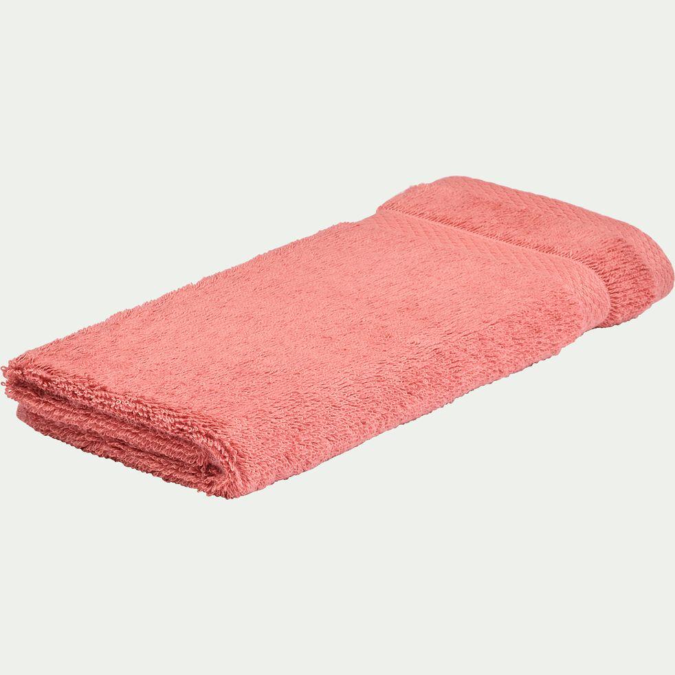Serviette invité en coton peigné - rouge ricin 30x50cm-AZUR