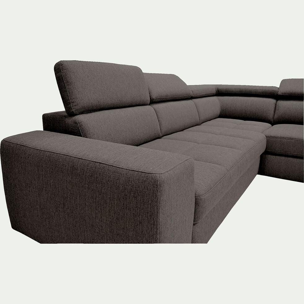 Canapé d'angle droit panoramique convertible en tissu - gris anthracite-TONIN