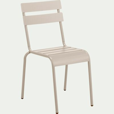 Chaise de jardin empilable en acier - gris vesuve-ALVA