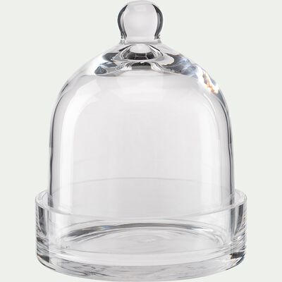 Cloche et socle en verre - transparent D14xH16cm-PROSTANTHERA