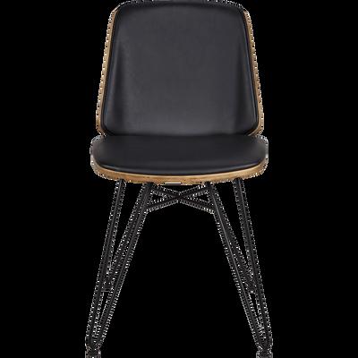 Chaise en simili gris foncé piètement épingle-NAIS