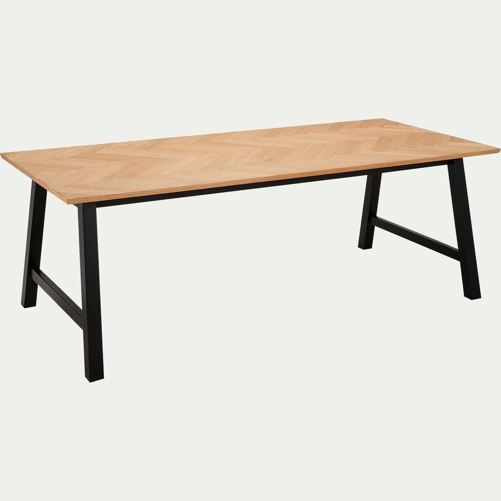 Table de repas fixe plaquée chêne  (4 à 6 places) - naturel-PORT BOU